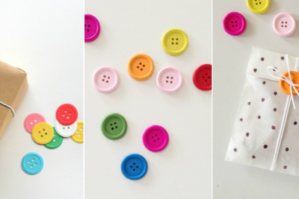 packaging buttons colourful DIY