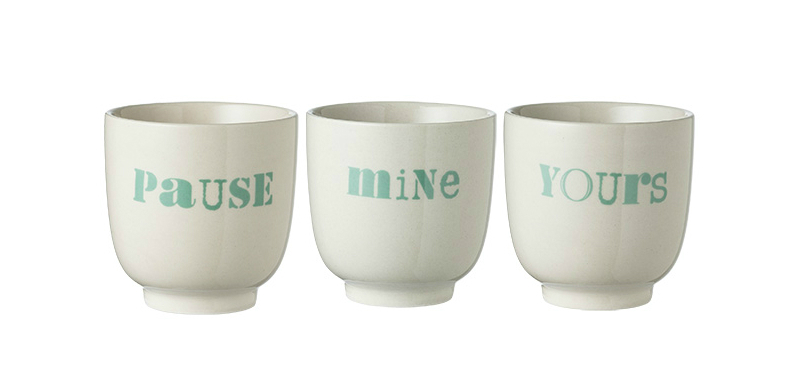 typographic cups mint bloomingville