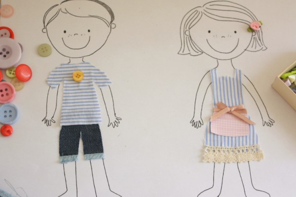 dressing up paper dolls DIY with kids