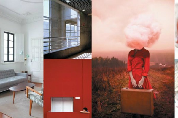 red large mood board collage