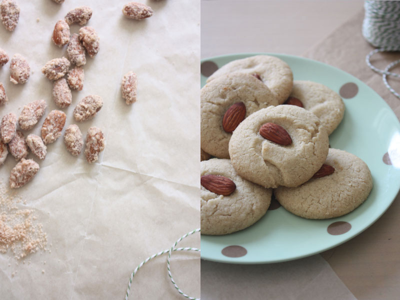candied almonds and tahini cookies