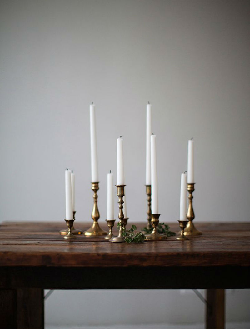 candle stick setting fastive seder table