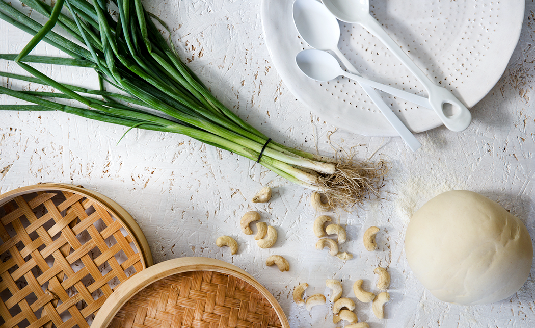 Carmelized onions and cashews dumplings receipe