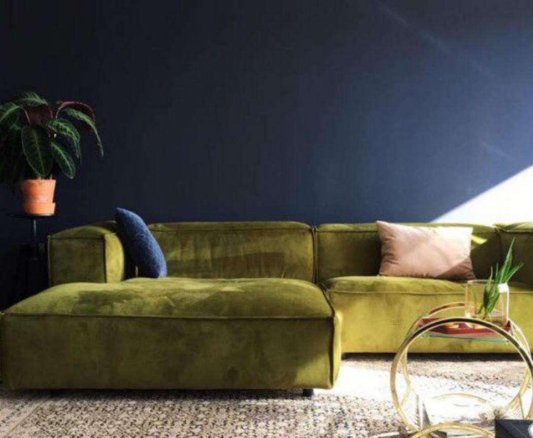 moss green velvet sofa