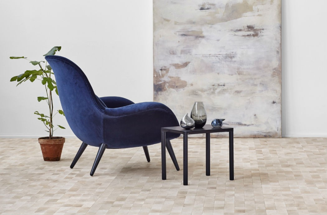 fredericiadeep blue velvet arm chair