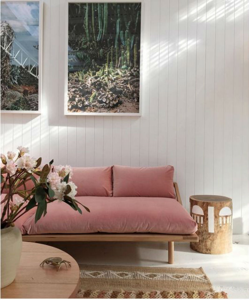 blush pink velvet boho chique sofa