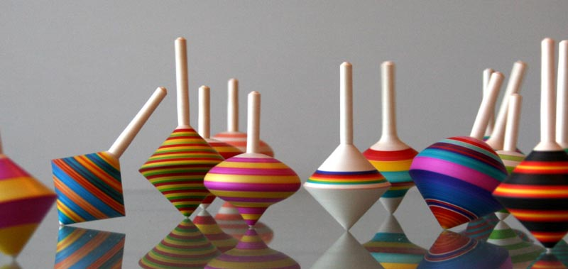 colourful wooden spining tops