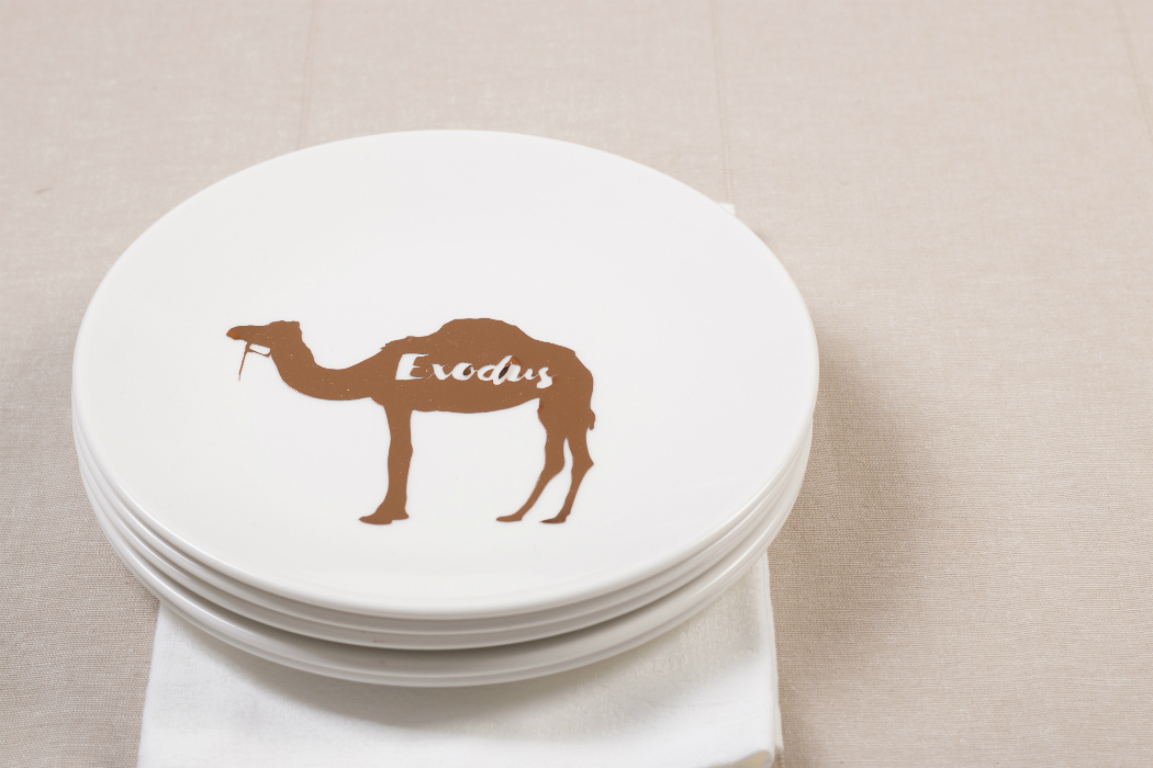 rose gold camel silhouette on white dinner plates
