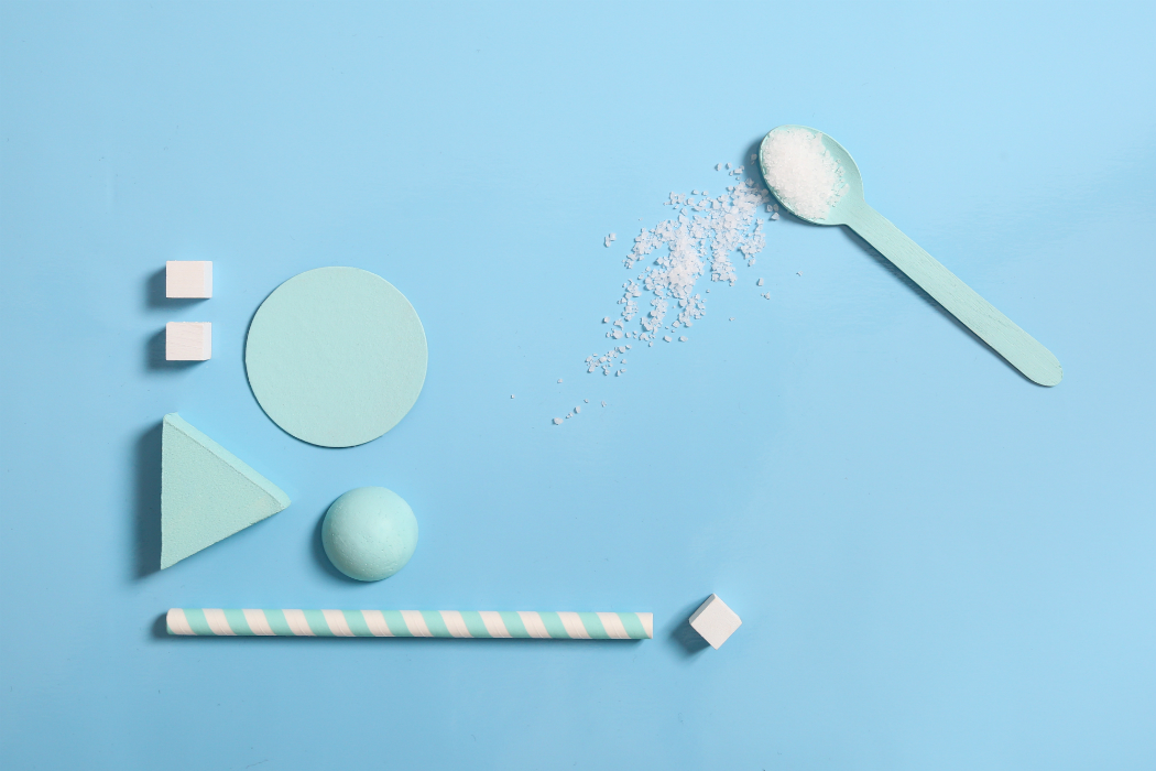 light blue geometric shapes water salt tea spoon