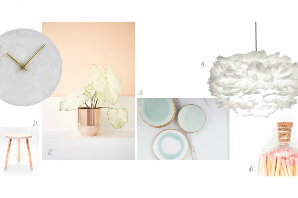 rose gold planter, soft light blue ceramic plates, vita light pendant, colurful matches