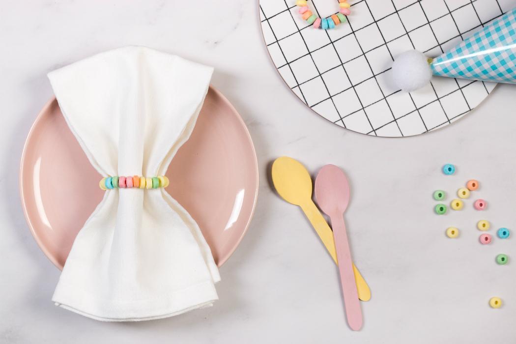 birthday confetti plate napkin pastel