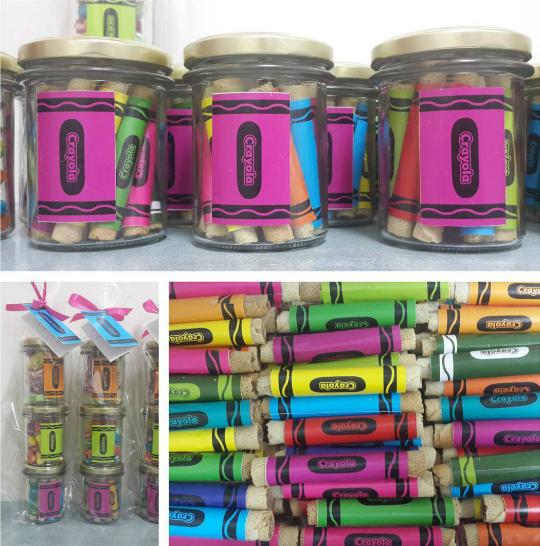 food crayons favor colors jar