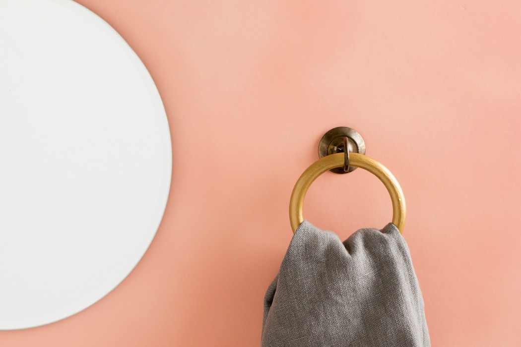 pink wall round mirror circle hopp towel hanger