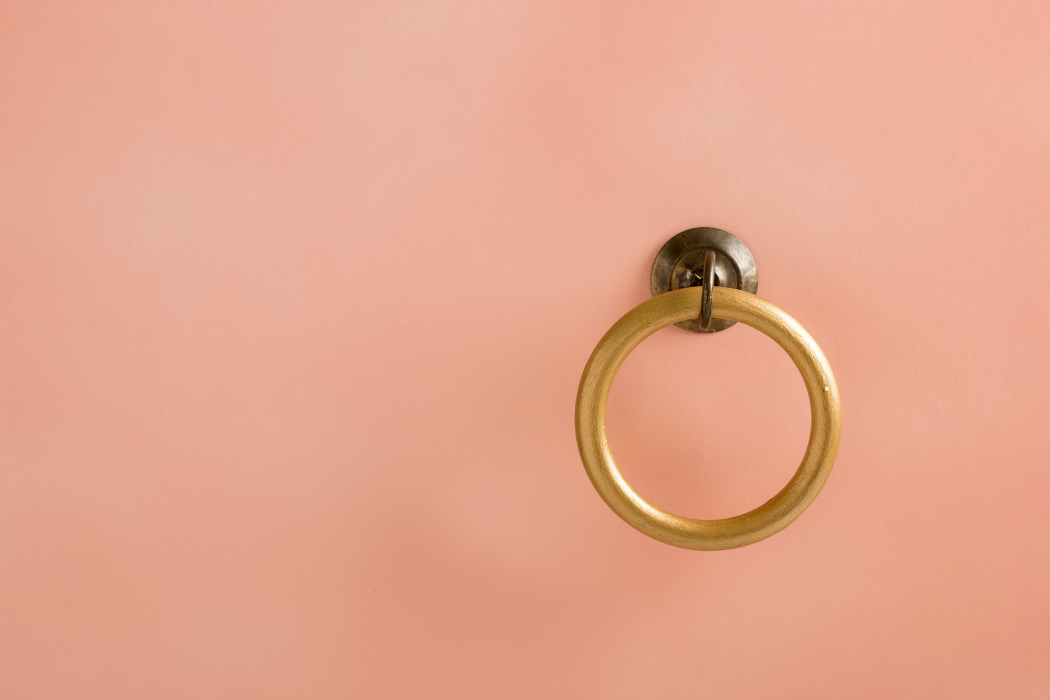pink wall golden hoop towel hanger