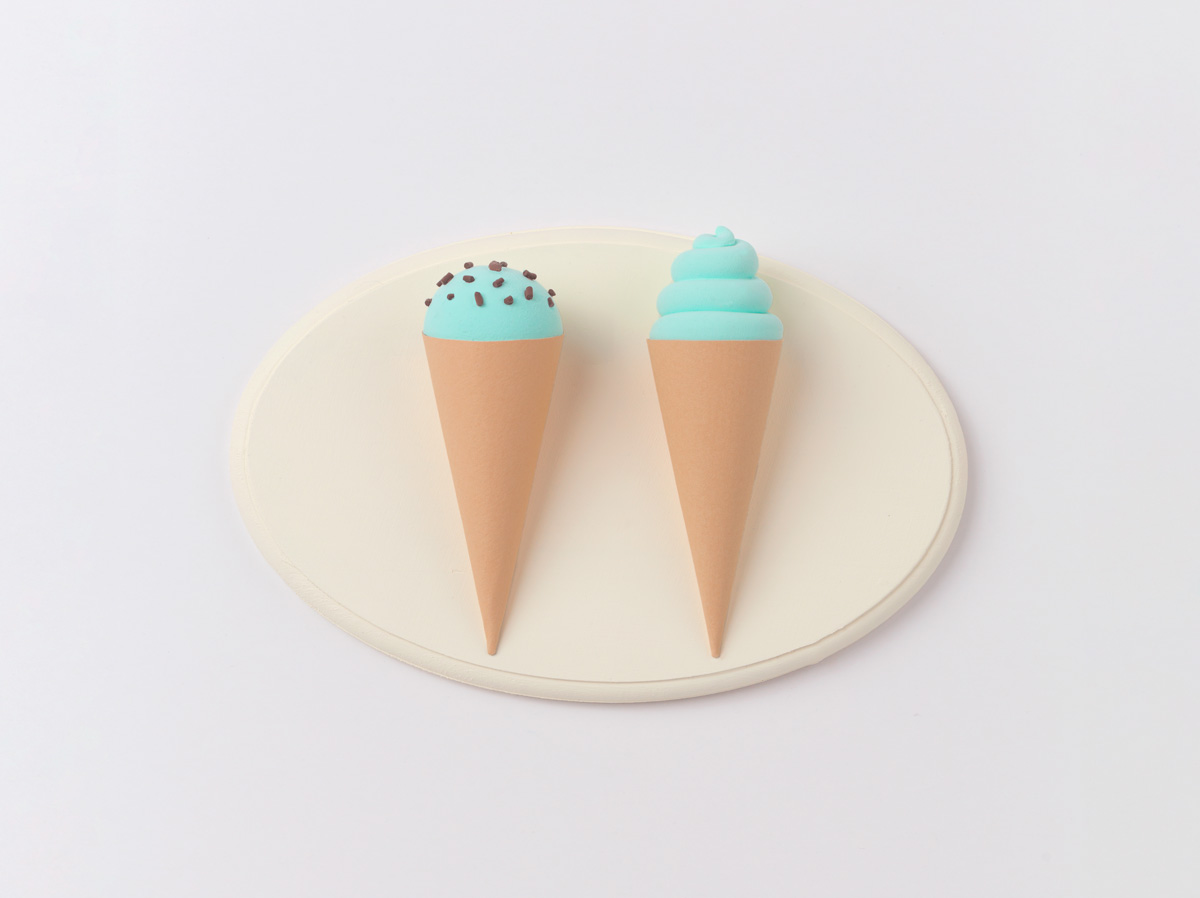 make 3d light blue ice cream cones key holder diy