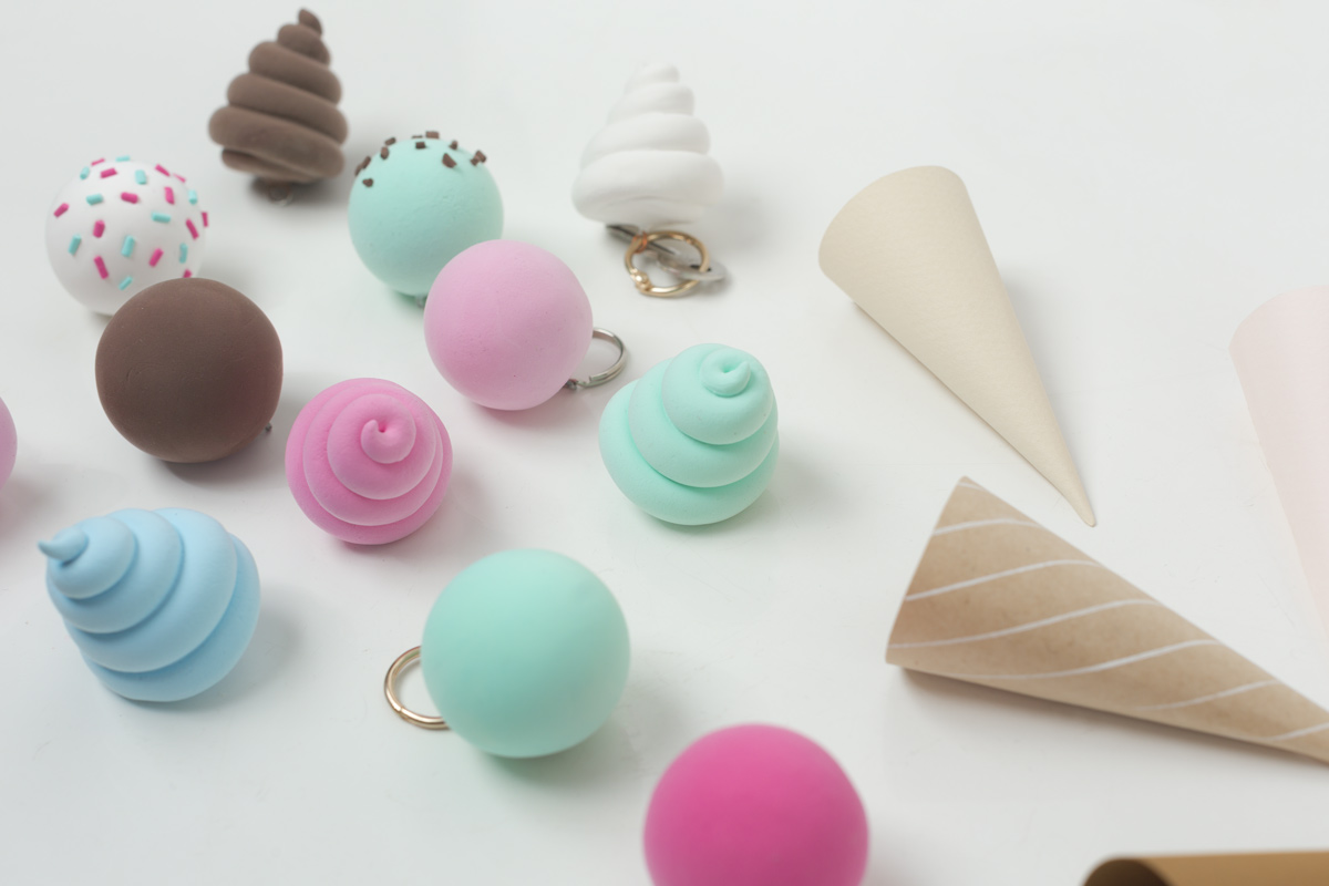 make pastel ice cream cones key chains and keys holder