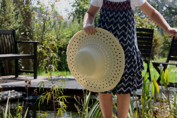 how to decorate your straw hat with diy paint pattern (1a)