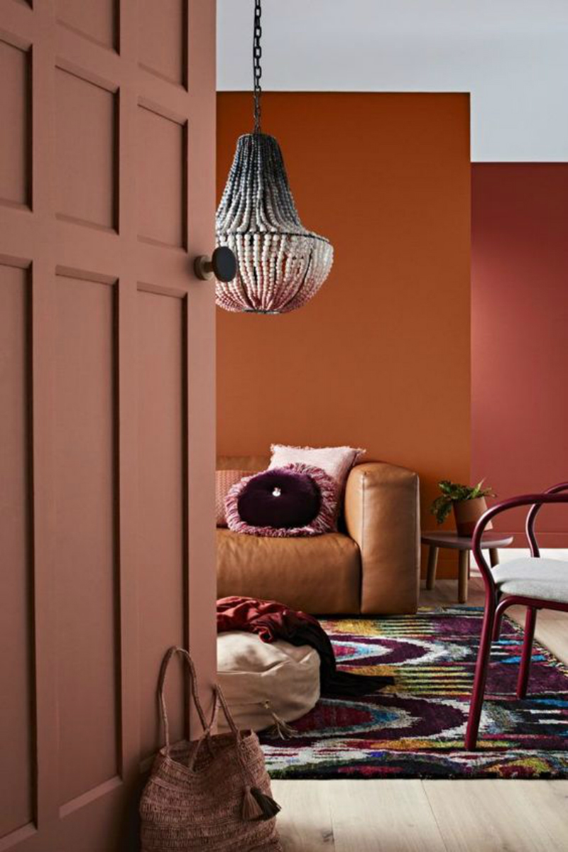 orange rust and red teracota walls interior design trend 2018