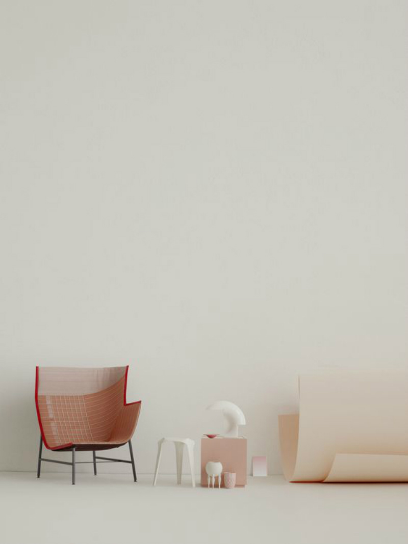 interior and stillife in orange and pink