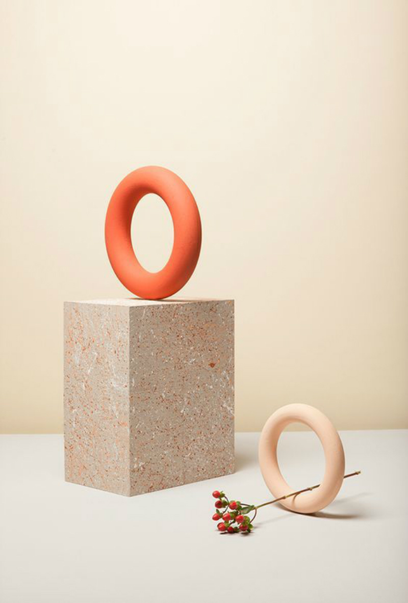 stillife photography orange and peach hoops