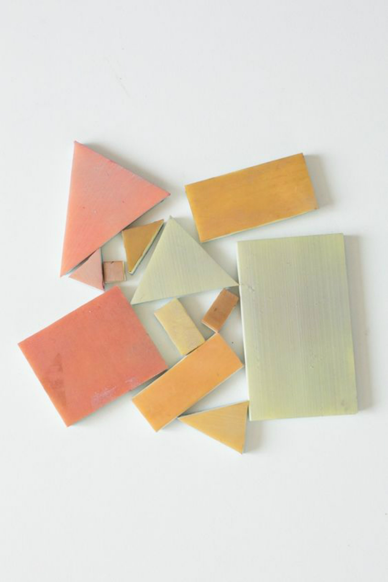 pink yellow and olive tiles