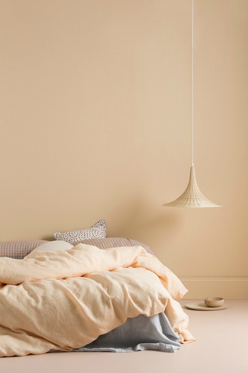 bedroom walls and beddings in light peach