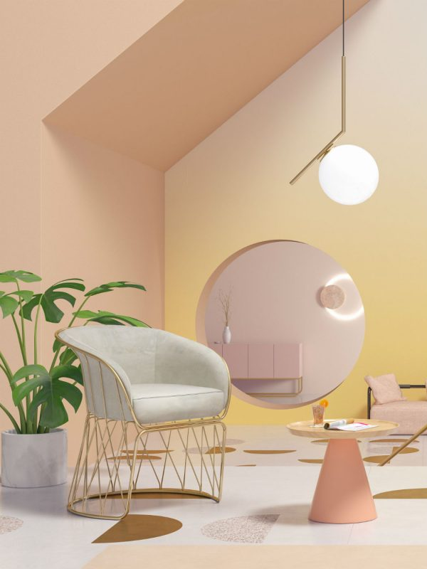 pink and yellow glowy interior - seasons project by moli studio