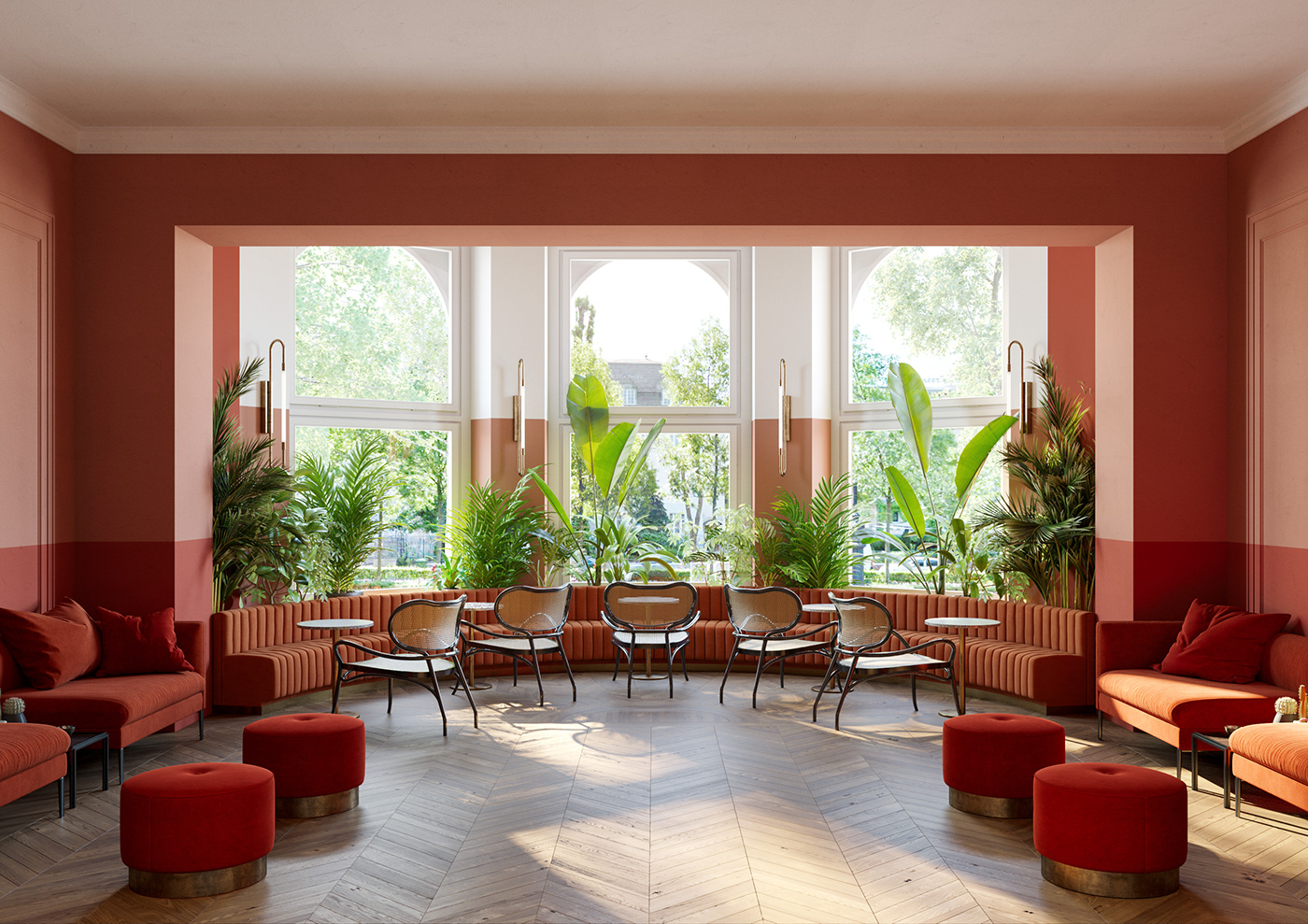 terracota and coral budapest hotel interior design