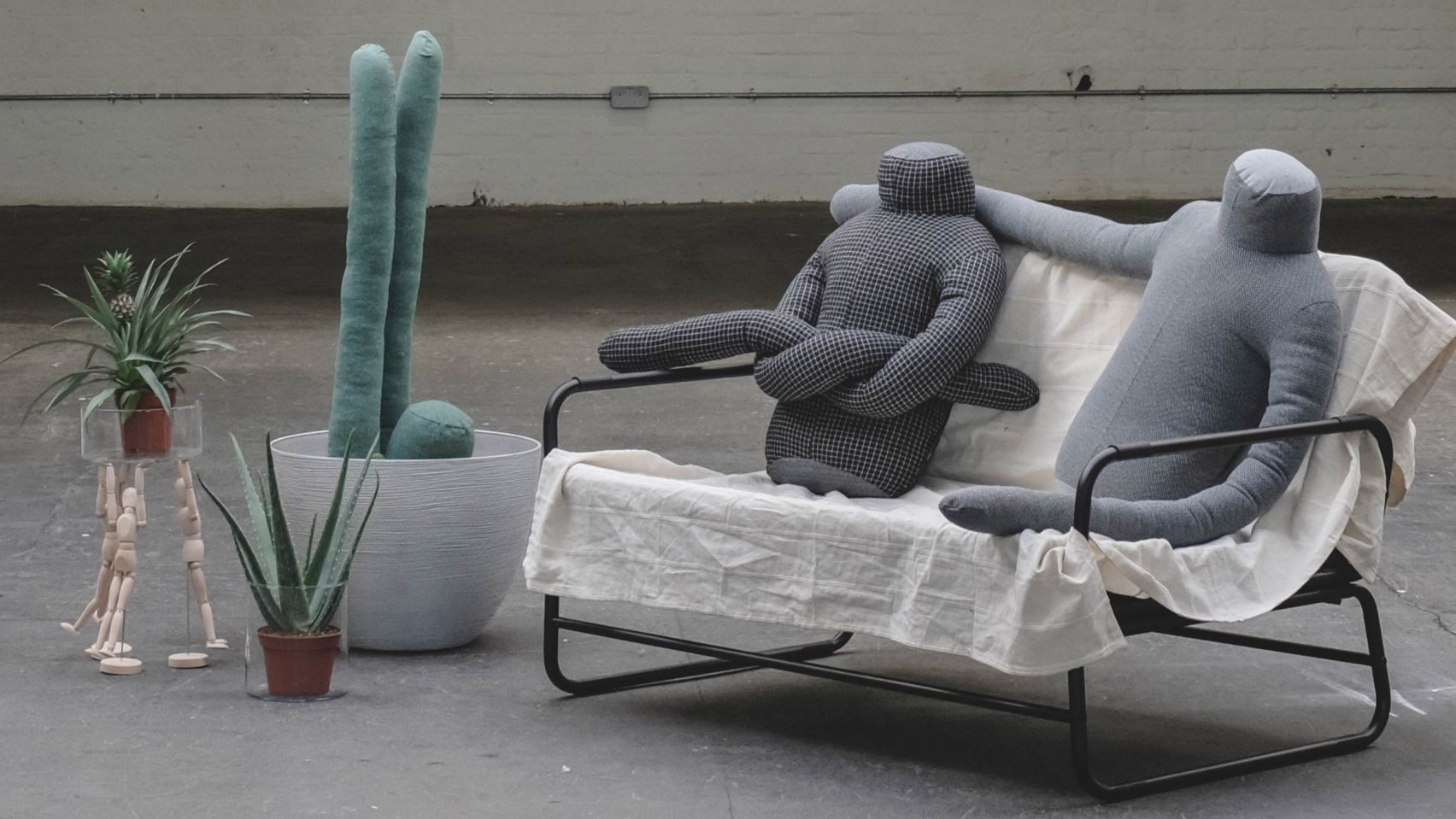 Headless human-shaped pillow by Aseptic Studio