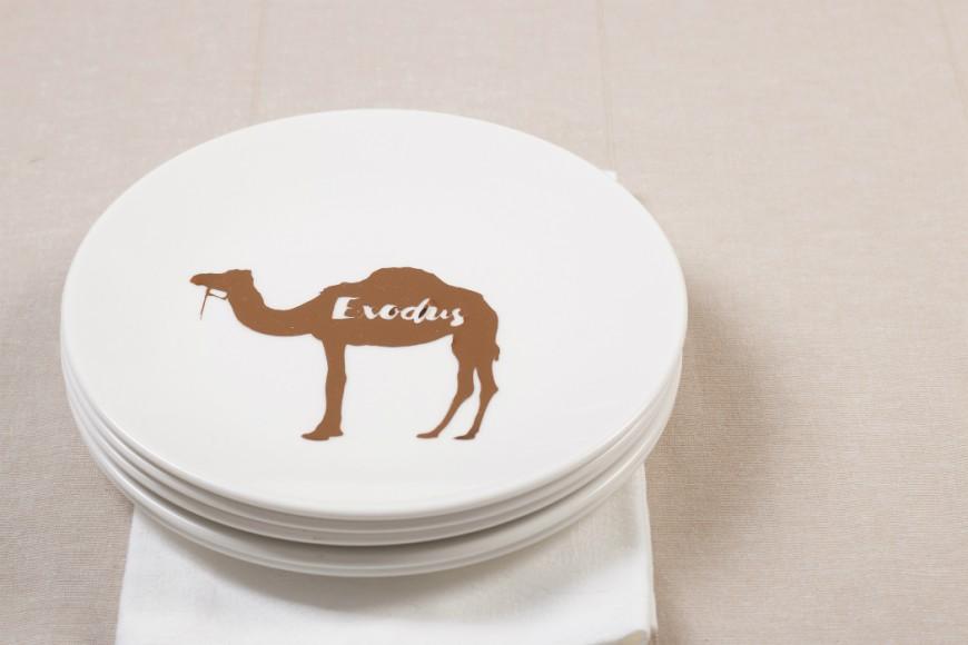 rose gold camel silhouette on white dinner plates