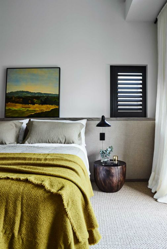 cosy bedroom with yellow throughKillcare house interior design