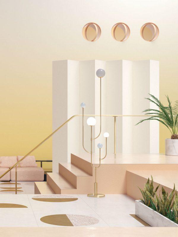 pink and yellow glowy interior - seasons project by moli studio
