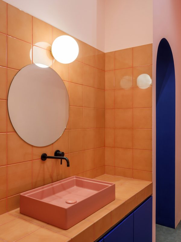 bathroom design in coral pink and electric blue