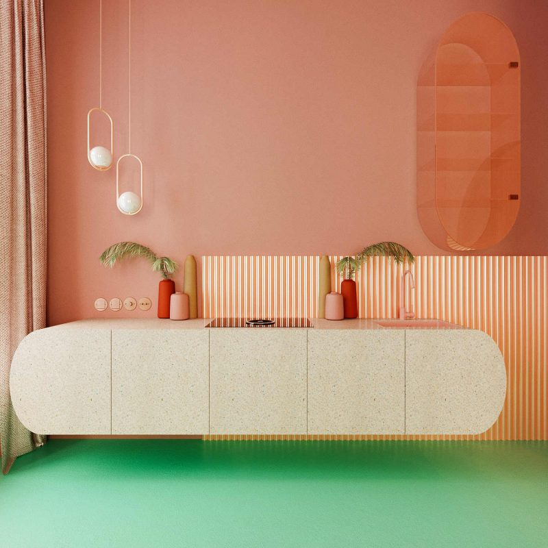 interior desing in living coral