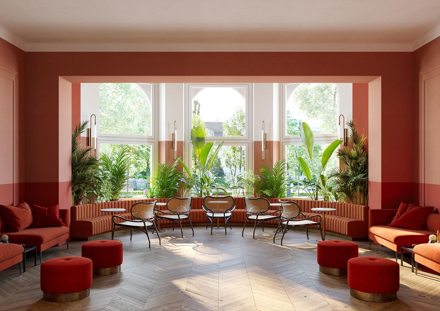 terracota and coral budapest hotel interior design