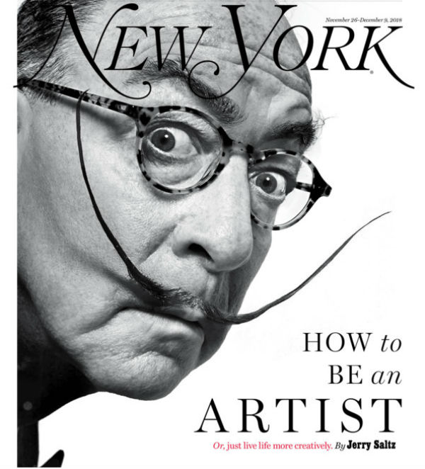 art critic Jerry Saltz as Dali for New York magazine cover